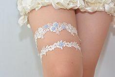 blue bridal garter wedding garter bride garter set by janebridal