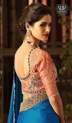 Buy Online Stylish Designer Casual Saree, Embroidered Saree, and Party Wear occasion special Stylish New sarees at vjv Fashions. Saree Blouse Neck Designs, Fancy Blouse Designs, Fancy Sarees, Silk Sarees, Burberry, Stylish Blouse Design, Saree Models, Elegant Saree, Girls Blouse