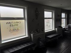 Upper floor window vinyl, frosted with cut vinyl insert