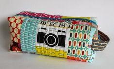 Camera patchwork boxy zipper pouch