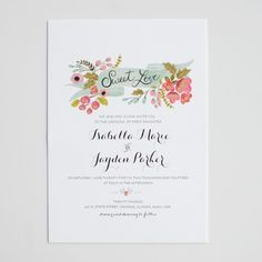 Customizable #wedding #invites - the banners and flowers are adorable. #calligraphy #invitation