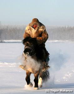 Yakutian horse riders in the wilderness of the Republic of Sakha-Yakutia, Siberia, Russia. Photo by Yegor Makarov.