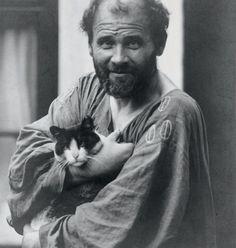 Gustav Klimt with his cat