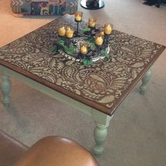 Paisley stencil on a upcycled table  #CuttingEdgeStencils