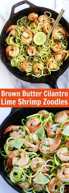 Brown Butter Cilantro Lime Shrimp Zoodles – BEST zoodle recipe ever with big juicy shrimp sauteed in brown butter, cilantro and lime juice. SO good | rasamalaysia.com