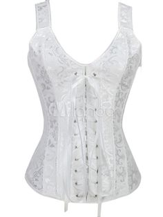 987fdce2c White Bridal Corset Lace Up Overbust Wedding Corsets