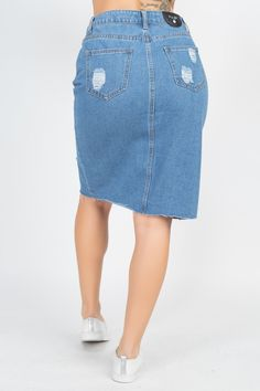 Distressed Front Slit Denim Skirt | KjSelections Front Button, Dress Making, Denim Skirt, Construction, Closure, Pocket, Zip, Medium, Colors