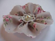 Shabby Stoffblume Applikation Rose Deko Vintage Blüte Retro Landhaus Handarbeit