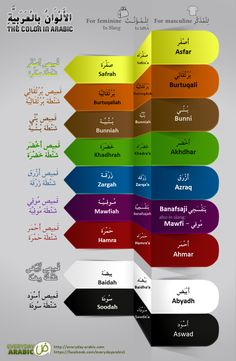 [Infographic] How to use the colors' name in Arabic language