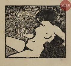 Aristide MAILLOL - La Vague. 1895-1898. Bois gravé. 171x197. Guérin 8. - [...], Estampes Modernes : Henri M. Petiet - 50ème et Dernière Vente à Ader
