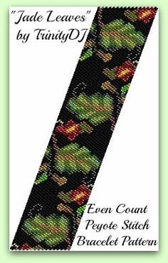 BP-LEA-001 - Jade Leaves - Even Count Peyote Stitch Bracelet Pattern - In The RAW