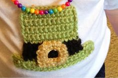 Vet School Widow: Free Leprechaun Hat Applique Crochet Pattern for St. Patrick's Day
