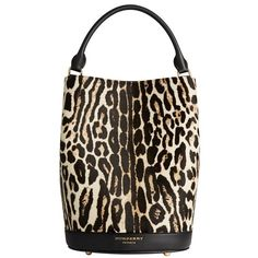 Burberry The Bucket Bag in Animal Print Calfskin (12.770 RON) ❤ liked on Polyvore featuring bags, handbags, shoulder bags, burberry, handbags shoulder bags, burberry purses, purse wristlet, hand bags and brown handbags