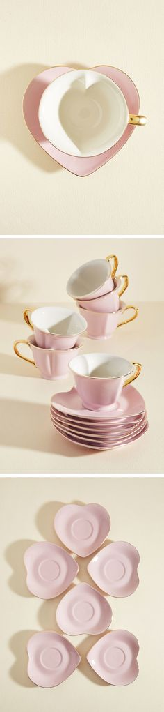 Heart Shaped Tea Cups & Saucers || Vintage Cups & Saucers || Vintage Wedding High Tea