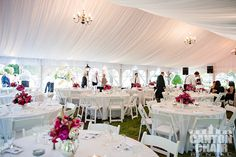 Loving the way this tent glows! This beautiful wedding featured our Losberger Tent with liner and chandeliers. Large Tent, Wedding Rentals, Party Planning, Special Events, Table Decorations, Bridal Showers, Chandeliers, Editorial, Chandelier
