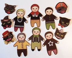 Halloween Black Cat Paper Doll Ornaments by cartbeforethehorse, $12.00