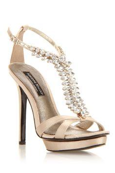 Ivy High Heel Sandals In Gold Satin