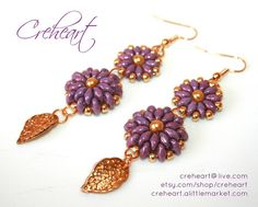 Handmade beadwork  Earrings Superduo beads Gold plated by Creheart, €25.00