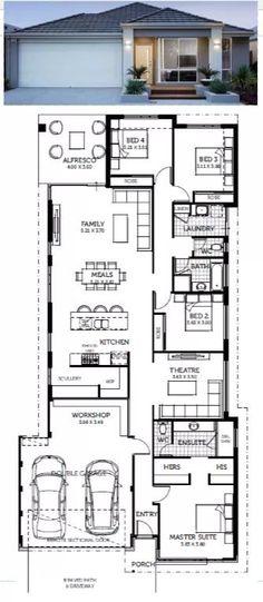 New House Plans Narrow Ideas Narrow House Designs, Narrow Lot House Plans, New House Plans, Dream House Plans, House Floor Plans, Long House, House Blueprints, Sims House, Cabin Plans