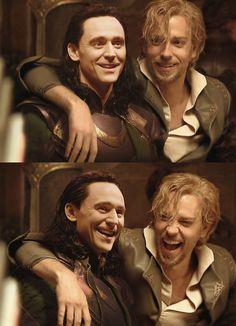"Tom Hiddleston ""Loki"" Zachary Levi ""Fandral"" ""Thor - The Dark World"" ... 'scuse me fangirl overload"