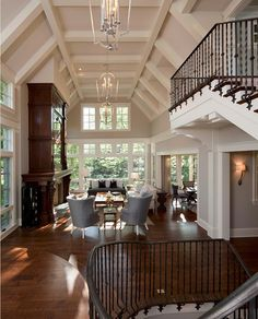 Arched Coffered Ceiling Winding staircase