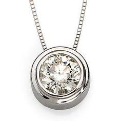 """Ross-Simons - 1.00 Carat Bezel-Set Diamond Necklace In 14kt White Gold 18"""" - #233147"""