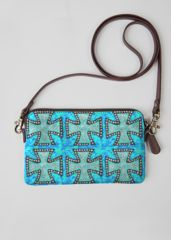"""""""Blue Iron Cross"""" statement clutch bag designed by artist Elissa Dawn Shakal for VIDA.  Custom-made to order/printed.  Canvas/leather accents.  7.75"""" W x 4 5/8"""" H"""