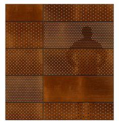 Concurso – Museu do Meio Ambiente – RJ – 3º lugar – concursosdeprojeto.org Metal Facade, Metal Screen, Perforated Metal Panel, Metal Panels, Facade Design, Wall Design, Facade Pattern, Steel Cladding, Weathering Steel