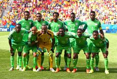 Nigeria pose for a team photo ahead of the Round of 16 match between France and Nigeria at Estadio Nacional on June 30, 2014 in Brasilia, Brazil.