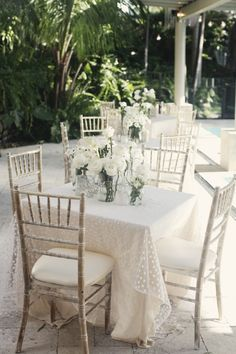 White dotty tablecloths :)