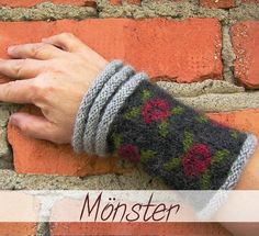 The rose pattern on the cuff is an old traditional pattern from Gotland (the biggest island in Sweden). The grey ridges are inspired from the ancient wall surrounding Visby, the biggest town on Gotland. Diy Crochet And Knitting, Knitting Stitches, Crochet Clothes, Knitting Patterns, Fingerless Mittens, Knitted Gloves, Crochet Wrist Warmers, Hand Warmers, Scrappy Quilts