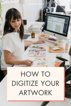 Here's how to digitize your artwork. If you're feeling stumped when it comes to digitizing your artwork, I've been there. Understanding scanner settings, file types and how to work Photoshop just don't come naturally unfortunately, so here are a couple steps to help guide you through it. #artwork #artist Creating A Business Plan, Business Planning, Business Tips, Selling Art Online, Online Art, Happy Little Trees, Online Checks, Free Courses, Just Don