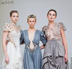 Linda Friesen is a fashion designer based in the Netherlands who creates unique one-of-a-kind dresses made out of thermoplastics. Her futuristic outfits resemble art nouveau curves and draw inspiration from Tiffany style lampshades. Her facebook,...