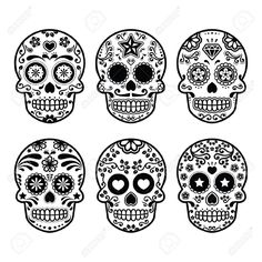 mexican sugar skull dia de los muertos icons set stock vector from the largest library of royalty free images only at shutterstock - Mexican Halloween Skulls