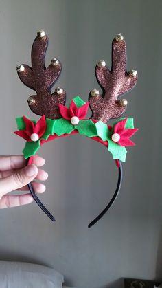 Christmas Gift Decorations, Christmas Crafts, Christmas Ornaments, Christmas Accessories, Diy Hair Accessories, Cute Crafts, Diy Arts And Crafts, Christmas Hair Bows, Diy Headband
