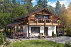 Chalet Design, Rustic Houses Exterior, Modern Farmhouse Exterior, Style At Home, German Houses, Small Country Homes, Village House Design, Rustic Home Design, Cottage Plan