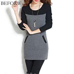 BEFORW Women Dress New Arrival Fashionable High Street Women's Hot Korean Style Casual Long Sleeve Plus Velvet Thickening Dress