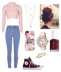 """""""Untitled #98"""" by biaviola2552 on Polyvore featuring Topshop, Converse, River Island, Forever 21, Casetify, Essie, Ted Baker, women's clothing, women and female"""