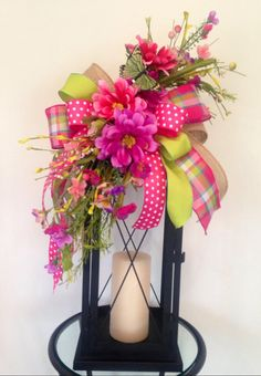 """SUMMERTIME"" - Decorative Summer Floral Lantern Swag Tabletop Arrangement by DecorClassicFlorals, $ 39.95 on Etsy"