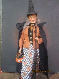 Connie Krizner OOAK Handmade Primitive Witch Vintage Antique Halloween Doll | eBay