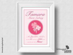 Personalisierte Geburtsanzeige rosa Kleeblatt von Schnuggellaedchen auf DaWanda.com