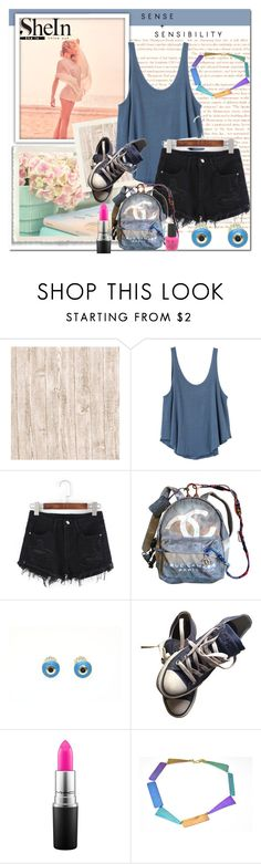 """""""Denim shorts"""" by giampourasjewel ❤ liked on Polyvore featuring Bellagio, GINTA, RVCA, Chanel, Converse, MAC Cosmetics, Essie and shein"""