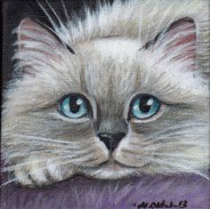 Ragdoll Kitten - Mini Acrylic Painting♥⇝♥⇜♥