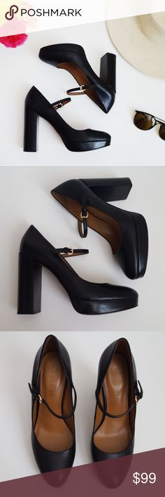 Coach   black platform ankle strap block heels   7 In good condition Coach ankle strap block heels. 4.25 inch heel and 1 inch platform. Some signs of wear shown in pictures, but overall good condition. Ankle strap is adjustable. Beautiful round toe. These are the perfect shoe for fall! Women's size 7.  Bundle up! Offers always welcome:) Coach Shoes
