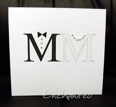 This is now my new favorite wedding card! Love the simplicity and tiny pearl accents.  The letters could be black and white like this or match the wedding colors. Handmade card.