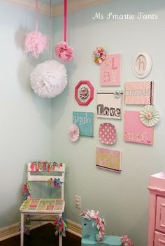 I like the idea of the wall hangings. Living in an apartment I don't want to fight with paint. A little girl's nursery