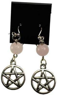 Rose Quartz Pentagram earrings