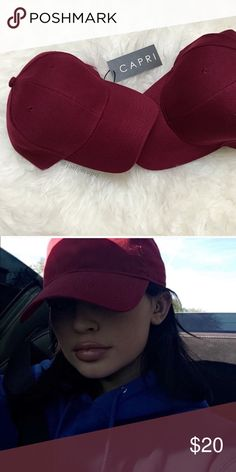 ✨NEW! LAST ONE! capri burgundy style acrylic cap✨ one new brand: capri custom made/color color: burgundy  premium quality 100% acrylic                                      adjustable velcro closure celebrity style as seen on kylie jenner perfect for spring/summer styles  ✖️price firm ✖️no trades C A P R I Accessories