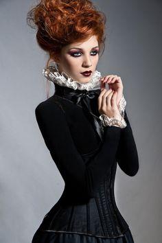 goth girls, fashion, red hair, corsets, dark, collars, inspir, gothic redhead, steampunk