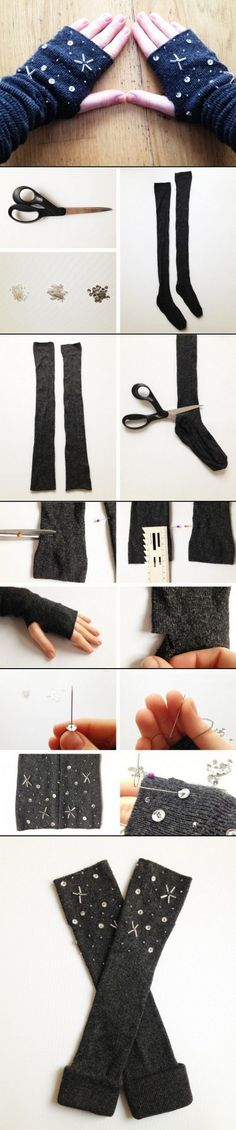 DIY Mittens and gloves -- could totally knit and embroider these.